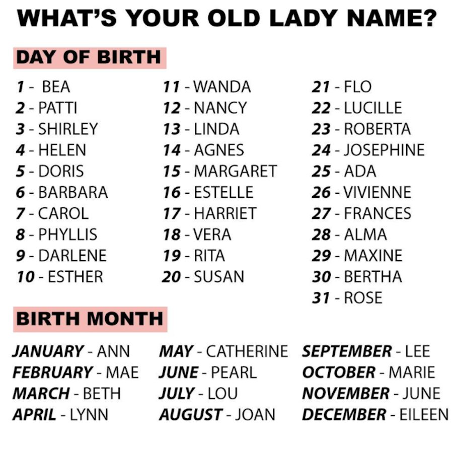 Find Your Old Lady Name - WIXY comWIXY com